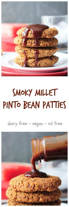 Smoky Millet Pinto Bean Patties - eat them with a fork and pile the on a bun burger style. Either way they are delicious with your favorite BBQ sauce. This recipe makes a lot of patties, but they freeze beautifully. Prep once, eat twice (or 3 times)! Instructions on how to freeze and reheat are also in the post.