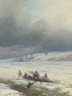 Ivan Konstantinovich Aivazovsky  - Hauling a horse  and cart out of ice, 1876