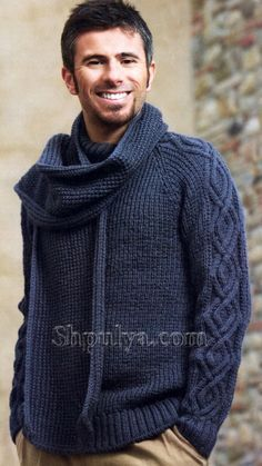 Мужской пуловер и шарф, вязаные спицами