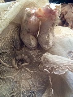Antique lace baby booties!!!