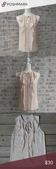 """H&M Sleeveless Ruffle Blouse In great condition! No flaws! A very pale, tanish pink color. Armpit to armpit is 17"""" Shoulder to hem is 24"""" Love the item but not the price? Please make an offer! Thanks for looking!  Sorry, no trades or modeling! H&M Tops"""