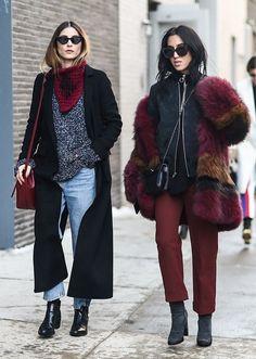 The Best NYFW Fall 2017 Street Style - Fall & Winter Fashion Outfit Ideas   New York Fashion Week F/W 17   Maroon + fur