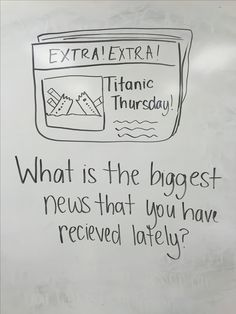 Titanic Thursday writing prompt for grade TUESDAY Journal Topics, Journal Prompts, Morning Activities, Daily Activities, Classroom Whiteboard, School Classroom, Classroom Routines, Morning Board, Daily Writing Prompts