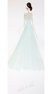 """Tiana from The Princess & The Frog in Ralph & Russo: """"A dream come true, this mint evening gown with a sweetheart neckline and mesh overlay, features scattered crystals that cascade into a layered tulle skirt."""""""