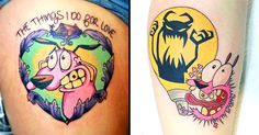 Revisit your friendly neighborhood pink dog with panic attacks in these lovable tribute tattoos to Courage the Cowardly Dog.