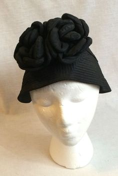 e15ee536f09 Black Cotton Fashion Bonnet Hat Millinery Fashion Creator The Vogue Vintage   Bucket Fashion Creator