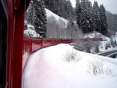 Switzerland's red trains...spectacular views and always clean and on time!