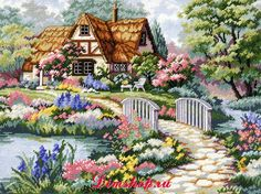 Dimensions Shop. Набор для вышивания Dimensions 02461 Cottage Retreat (Уединенный коттедж)