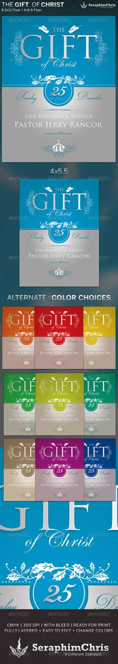 The Gift of Christ: Holiday Flyer TemplateThe Gift of Christ: Holiday Flyer Template is designed for church events focused on the birth of Jesus Christ. You can change colors and drop your background in with ease! This premium design is constructed to give the highest dynamic quality when printed or posted to social media sites and other formats. This file is exclusive to graphicriver.net