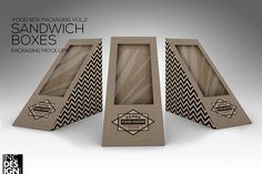 Sandwich Wedge Box Packaging Mock Up by INC Design on @creativemarket