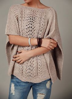 hand knitted Poncho/ capelet in wheat