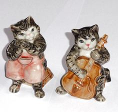 Musical Grey and White Tabby Cats Salt and Pepper Set