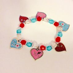 Valentines bracelet, hearts jewelry, charm stretch bracelet, JeriAielloartstore, handmade in shop, USA business, love charms, pink blue red