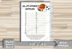 Baby Shower Alphabet Game Sports - Alphabet Baby Shower Name Game All Stars Football, Baseball, Basketball, Soccer - Instant Download - asg by DigitalitemsShop on Etsy