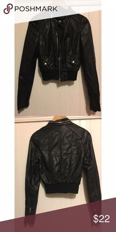 H&M Black Leather Jacket Very cute and comfy leather jacket from H&M. Not as shiny in person as it is in the picture. Matte black. H&M Jackets & Coats