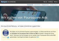 Foursquare: Anzeigenplattform jetzt verfügbar #socialmedia #socialmediamarketing #blog #aachen #website #facebook