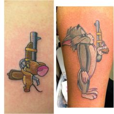 His and hers tom and jerry couples tattoo done by meghan patrick - Lygia and Wil!!