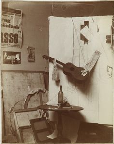 The Birth of Synthetic Cubism: Picasso's Guitars, Part I: Pablo Picasso (Spanish, 1881-1973). Photographic composition with Construction with Guitar Player and Violin. Paris, on or after January 25 and before March 10, 1913. Gelatin silver print. 4 5/8 x 3 7/16 in. (11.8 x 8.7 cm). Private collection.