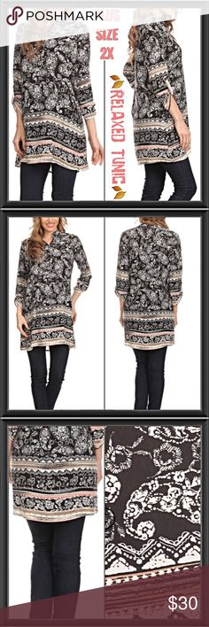 💥1HRSALE💥 2X Relaxed Fit Paisley Tribal Tunic Take it easy in style & comfort in this relaxed fit paisley tunic. Black & white paisley with tribal details in tan, mint & blush. Vneck & 3/4 button sleeves. Pair with leggings or skinnies all year long. 100% soft rayon. Small Medium & 2X 🍂🍂🍂🍂🍂🍂 striped Dresses Midi
