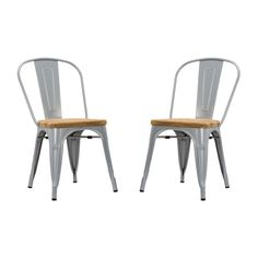 The highly durable Bistro Dining Chair is made from welded steel with a seat made of luxuriously rustic unfinished teak wood. Equally great for all workplace environments and around the breakfast table...  Find the Bistro Dining Chair - Set of 2, as seen in the Scandinavian Farmhouse Collection at http://dotandbo.com/collections/scandinavian-farmhouse?utm_source=pinterest&utm_medium=organic&db_sku=DBI1201-MET-SET2