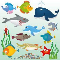 Cartoon marine fish - vector material