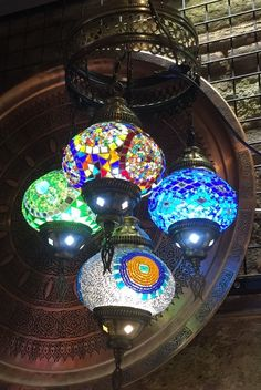 TURKISH MOSAIC CHANDELIER, 4 GLOBES, MULTI COLOR Turkish Lanterns, Turkish Lamps, Turkish Coffee Set, Crystal Chandeliers, Globes, Mosaics, Christmas Bulbs, Crystals, Lighting
