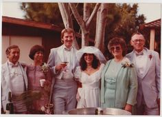 Vintage 80s PHOTO Young Wedding Couple Groom & Bride w/ Their Parents