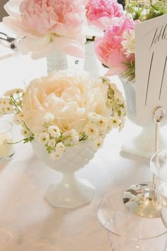 BLUSH floral design: Milk Glass Wedding at Wadsworth Mansion Glass Centerpieces, Wedding Centerpieces, Wedding Decorations, Centerpiece Ideas, Glass Vase, Pink And White Weddings, Green Weddings, Glass Collection, Bridal Collection