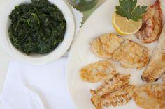 Fisch-Parrillada mit Spinat