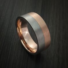 Titanium and Gold Ring Style with Solid 14k Rose Gold Inner Sleave Wedding Band Custom made to Any Size