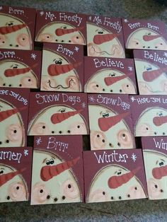 Cute snowmen on little wood squares.  No link - just pic. Would make cute ornies.