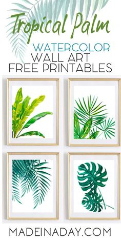 Looking for Tropical Palm Watercolor Wall Art Printables for you home decor? Palm fronds, Monstra, Banana Plant, jungle palms. Print on cardstock, frame and hang. via @madeinaday (Diy House Party)