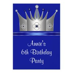 Princess Crown 6th Birthday Party Invitation 6th