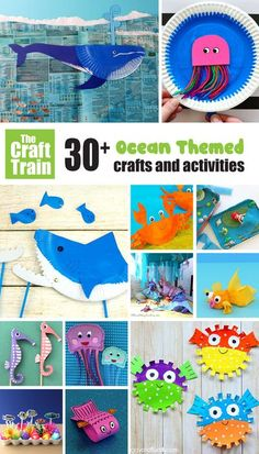 Over 30 amazing ocean themed crafts and activities for kids. From mermaids to colourful fish to hungry sharks – so many ideas for all age groups. Perfect for summer crafting with kids! #summer #ocean #kidscrafts #kidsactivities #funcraftsforkids #summercrafts #animalcrafts Diy Crafts For School, Summer Crafts For Toddlers, Animal Crafts For Kids, Art Activities For Kids, Easy Crafts For Kids, Toddler Crafts, Kid Crafts, Preschool Activities, Ocean Theme Crafts