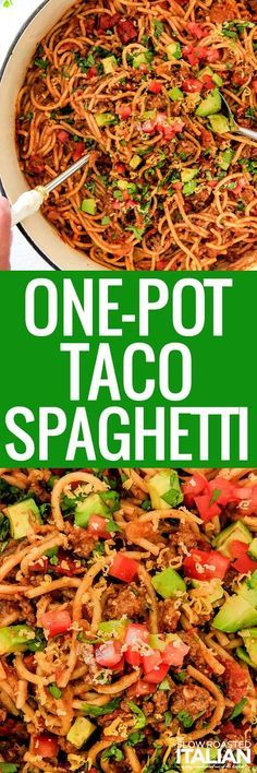 One-Pot Taco Spaghetti is all of your favorite taco flavors in pasta form! This wonderfully cheesy, fiestalicious spaghetti recipe is on your table in less than 30 minutes with only one pot to clean!