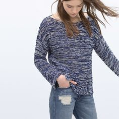 Zara blue round neck sweater Blue versatile sweater. Looks great with jeans and shirts. Size S Zara Sweaters