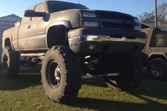 Jacked up, big tires, dirty = this boy get 150 million points for gettin' it right! Jacked Up Chevy, Lifted Chevy Trucks, Gmc Trucks, Diesel Trucks, Pickup Trucks, Mudding Trucks, Chevrolet Trucks, Future Trucks, Sport Boats