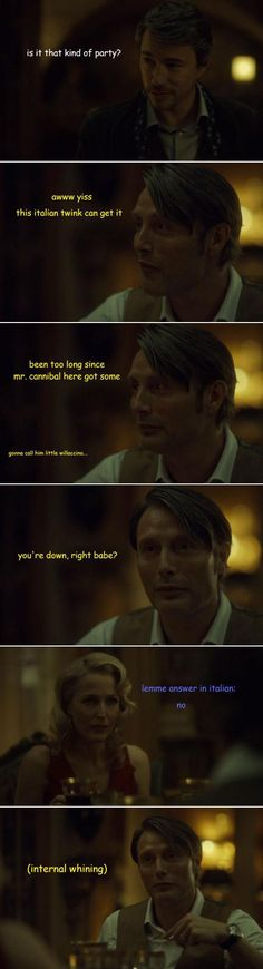 RIP Little Willaccino. Hannibal 1x3 Antipasto. Source: fannibal-crack.tumblr <-- It's so wrong, but the expressions are so perfect XD