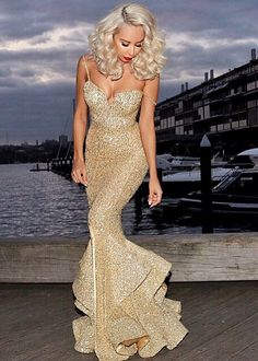 Sexy Mermaid Sequins 2016 Evening Dress Spaghetti Straps Party Gown