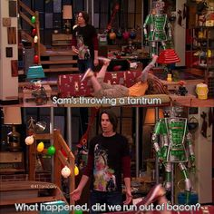 I just love how Sam is over there ALL the time and they're just her second first family and they just know her and aren't phased by stuff like this at all and I just love it Funny Memes, Hilarious, Tv Memes, Funny Quotes, Jerry Trainor, Icarly And Victorious, The Thundermans, Old Disney, Disney Stuff