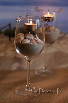 Maritime Candle Centerpiece With Seashells