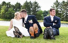 funny wedding photo with the best man