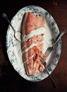 Poached Ocean Trout with Tarragon, Lemon and Champagne Sauce (white wine/champagne, celery, bulb of fennel, black peppercorn, capers, full side fillet of ocean trout, egg, canola oil, white wine vinegar, lemon juice, fresh tarragon leaves)