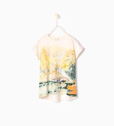 Image 1 of Shiny forest printed T-shirt from Zara