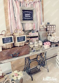Table, backdrop, signage and prop ideas for a craft show Candy Table, Candy Buffet, Dessert Table, Wedding Arch Rustic, Wedding Reception Food, Candy Bar Decoracion, Vintage Candy Bars, Rustic Birthday, Mom Birthday