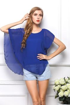 New Summer European Style T-shirt Chiffon Double Layer T-Shirt Solid O-Neck Casual