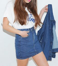 StyleNanda Mini Skirt // Denim mini skirt with zip front