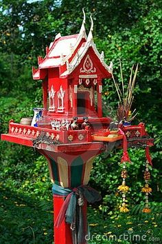 Altars: Thai Spirit House Shrine. (Really feel this needs to go in our back yard)