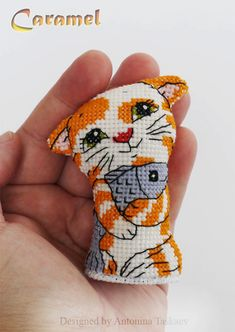 Caramel Kitty double sided toy Cross stitch by AntoninaDesign