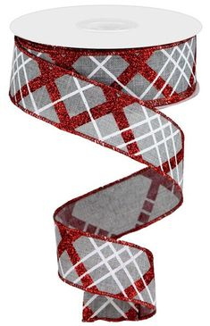 """Excited to share this item from my #etsy shop: Light Grey Red and White Glitter diagonal plaid wired ribbon, 2.5"""" grey red white ribbon, wired ribbon, sports ribbon, Christmas ribbon #gray #red #waysidewhimsy Bulk Ribbon, Wired Ribbon, Ribbon Bows, Ribbons, Sports Wreaths, Mesh Wreaths, Holiday Wreaths, Wreath Making Supplies, Craft Supplies"""